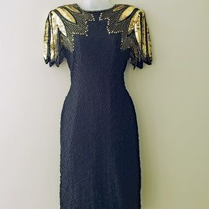 VTG 1980s Beaded & Sequinned Silk Cocktail Dress